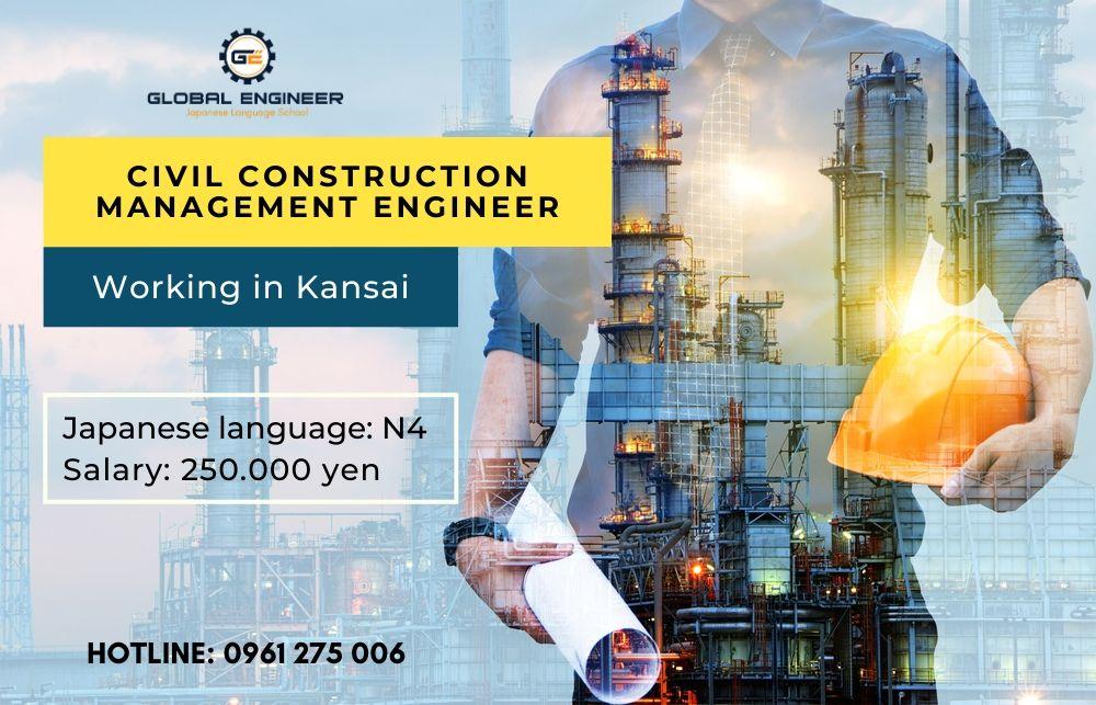 Civil construction management engineer working in Kansai